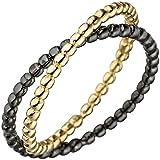 JOBO Damen Ring Kugel 925 Sterling Silber gold schwarz bicolor vergoldet Kugelring Größe 56