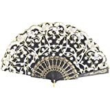 SLB Works Dots Line Printed Chinese Style Summer Cooling Handle Folding Fan 24cm Length