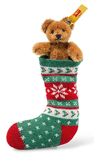 Steiff, Teddybär, in Socke, 8 cm, braun, grün/rot, Stoffteddybär, Miniaturteddybär
