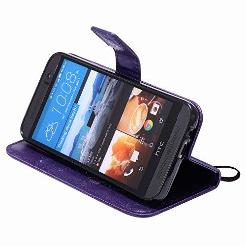 Custodia HTC One M9 / HTC One Hima Cover Case, Ougger Fortunato Foglia Stampa Portafoglio PU Pelle Magnetico Stand Morbido Silicone Flip Bumper Protettivo Gomma Shell Borsa Custodie con Slot per Sched Viola