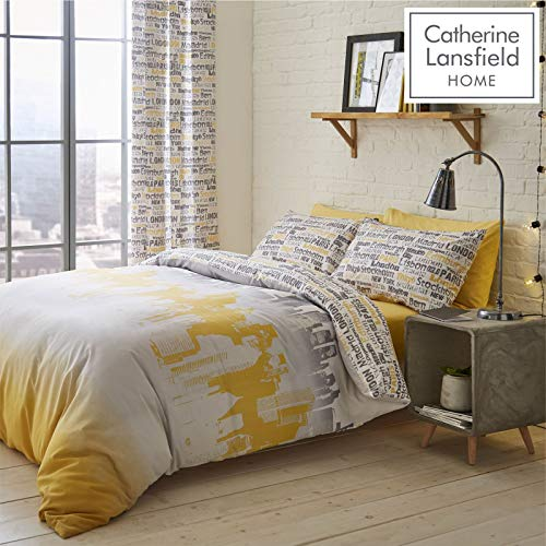 Catherine Lansfield City Scape Easy Care Double Duvet Set Ochre Best Price and Cheapest