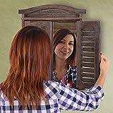 Mendler Wandspiegel Spiegelfenster mit Fensterläden 53x42x5cm ~ braun shabby für Mendler Wandspiegel Spiegelfenster mit Fensterläden 53x42x5cm ~ braun shabby