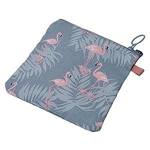 ODN Blue Flamingo Pattern Sanitary Napkin Holder Canvas Zipper Lovely Flowers Storage Pocket Handbag Pocket Gift Bag