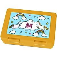 Preisvergleich für Brotdose mit Namen Amy - Motiv Einhorn, Lunchbox mit Namen, Frühstücksdose Kunststoff lebensmittelecht