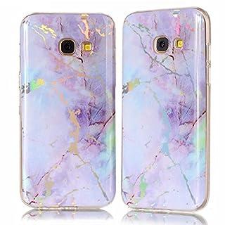 Samsung Galaxy A3 2017 Hülle,Samsung Galaxy A3 2017 Schutzhülle, Alfort TPU Silikon Hülle Farbe Marmor Cover Schutzhülle für Samsung Galaxy A3 2017 (Rosa lila)