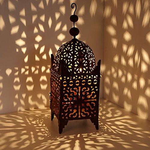 Orientalische Laterne marokkanische Eisenlaterne Firyal 70 cm edelrost-braun für draußen & Innen | Handmade Gartenwindlicht | hängend & stehend | Windlicht für Lichtspiele wie aus 1001 Nacht | L1650