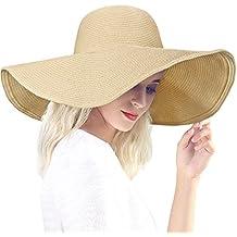 Dafunna Sombrero de Paja para Mujer de ala Ancha Pamelas Playa Plegable  Sombrero de Sol Color aeedd53fce11