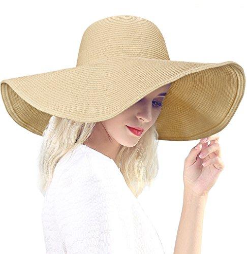 Dafunna Sombrero de Paja para Mujer de ala Ancha Pamelas Playa Plegable  Sombrero de Sol Color 2177859b6804