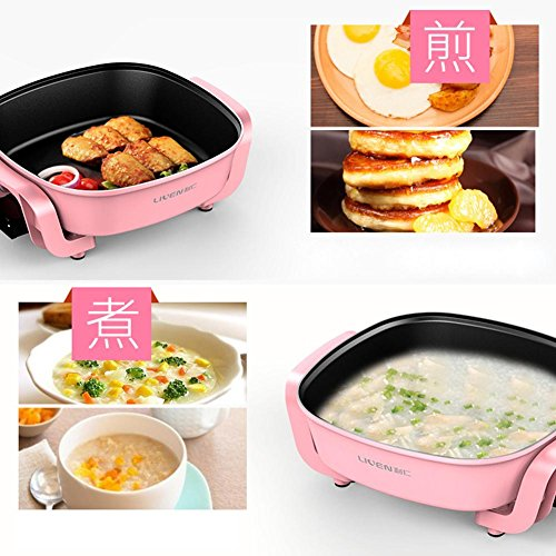 Electric hot pot multi-purpose household cooker non-stick pan 1360w,pink