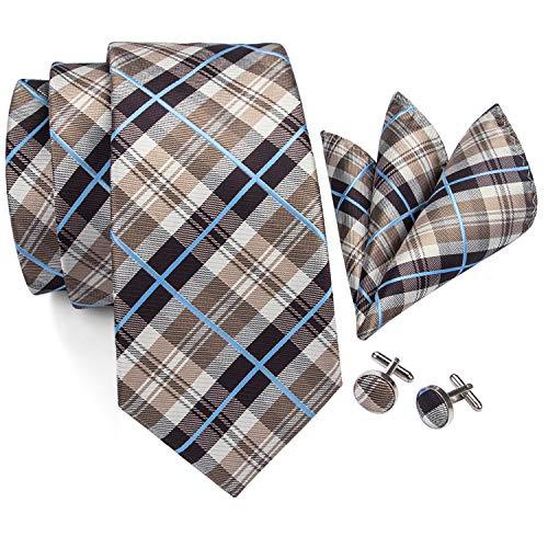 Barry.Wang Herren Krawatten-Set Retro-Plaid Krawatte mit Einstecktuch Manschettenknöpfe formell - gelb - Einheitsgröße -