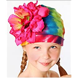 Rainbow Tie Dye Hat with Raspberry Large Peony, Size: 4-6y