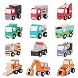 Zerodis Coche de Madera Conjunto de Vehículos Mini Juguete del Coche de Dibujos Animados Aprendizaje Temprano Juguetes de Tráfico Educativo Cumpleaños Niños Niños Pequeñ (12 Unids)