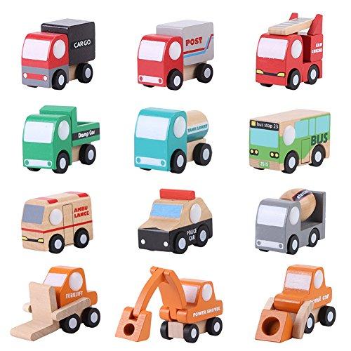 Zerodis 12 Paket Holz Fahrzeug Set Baby Kind Cartoon Spielzeugauto Früherziehung Bildungs   Verkehr Spielzeug Kinder Geschenk für Jungen Kinder Party Zubehör