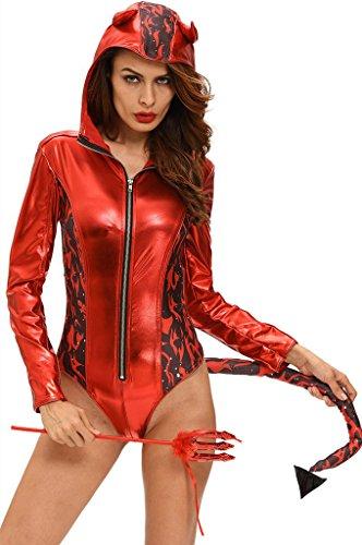 Fortuning's JDS Frauen 2pcs rotes heißes teuflisches mit Kapuze Spielanzug-Kostüm Cosplay (Werwolf Kostüm Frau)