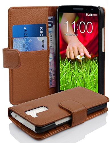Cadorabo Hülle für LG G2 Mini Hülle in Cognac braun Handyhülle mit Kartenfach aus Struktriertem Kunstleder Case Cover Schutzhülle Etui Tasche Book Klapp Style Cognac-Braun