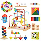 DOOLLAND Wooden Toddler Toys Set - 11 Types 14pcs Wooden Baby Learning Toys Kids Intelligence Early Educational Toys Set Including Wooden Bead Maze Best Gift for Toddlers Kids Boys and Girls