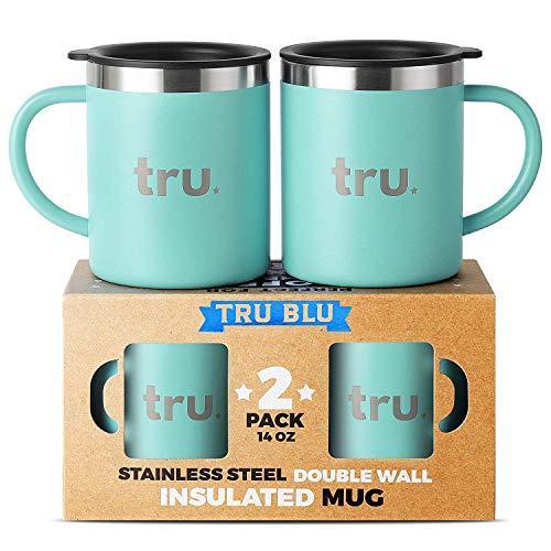 Tru Blu Steel Tasses à café avec Couvercle (Set de 2) - Tasses de Camping en Acier Inoxydable avec poignée, Double paroi & Tasses métal Isotherme - sans BPA, incassables, lavables en Lave-Vaisselle