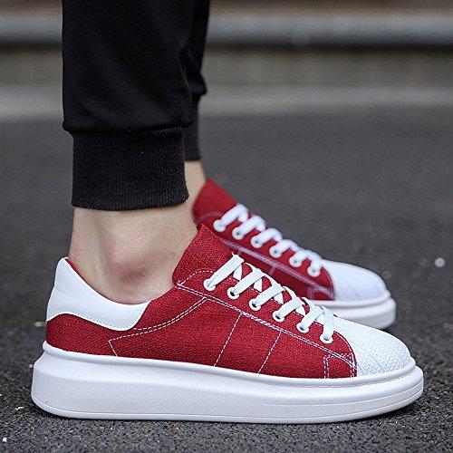 FEIFEI Scarpe da uomo Primavera e Autunno Moda Fondo spesso resistente all'usura Scarpe casual 4 colori ( Colore : Beige , dimensioni : EU/41/UK7.5-8/CN42 ) Rosso