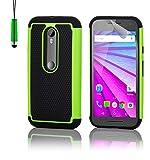 Motorola Moto G 3 (3. Generacion, 2015) Funda Carcasa Rígida Shockproof de Doble Capa de Alta Proteccion Defender de 32nd®, incluye protector de pantalla, paño de limpieza y lápiz optico - Verde