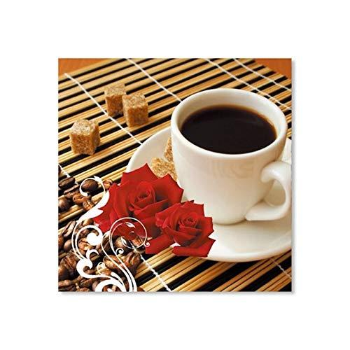 tzxdbh Drucken Kaffeetasse Vintage Poster Cafe Bars Küche Dekor Poster Wandbilder für Küche Coffee Shop Wanddekor Gemälde Leinwand-in ab 20x20cm Kein Rahmen B