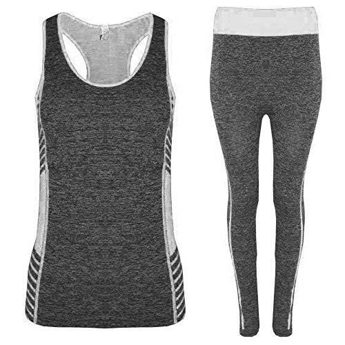 VR7 Ladies Womens 2 Pcs Gym Sports Leggings Crop Top Fitness Yoga Pants Set  UK 6 803b9466b65