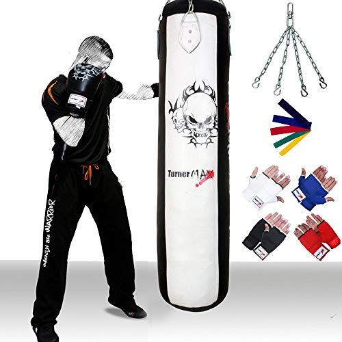 TurnerMAX Kick Boxsack Training MMA UFC Fight Gym Bag, frei Inner Handschuhe, Strech Band, Kette Swivle, 4ft Tasche