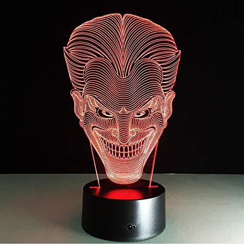 (Halloween Kinder Geschenk Jack Lächeln Gesicht 3D Lampe Film Charakter Lachen Joker Schreibtisch LED Lampe mit 7 Farben Nachtlicht)
