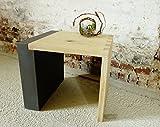 Eiche Hocker massiv, gezinkt, sandgestrahlt, Kombination mit Betonoptik Höhe 42 cm Beistelltisch, Couchtisch, Nachttisch, Blumenhocker