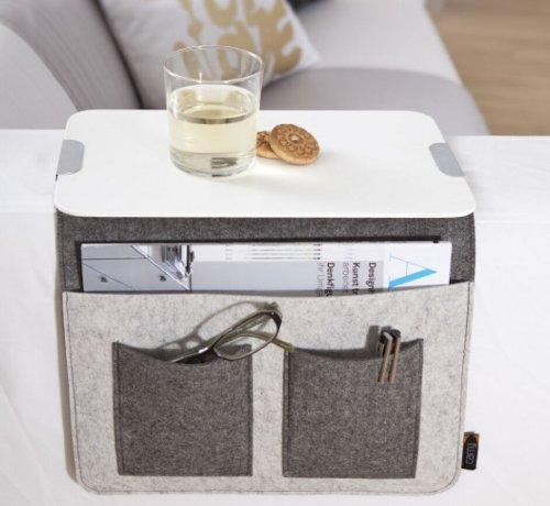 Sofa Butler Carry mit 4 Taschen und Ablageplatte hellgrau/dunkelgrau 201040222-HE
