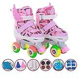 ZCRFY Einstellbare Inline-Skates Kinder Rollschuhe Anfänger Zweireihig Quad Flash Rollerblades Komfortable Sicherheits-Pads Helm-Set Schlittschuhe Für 3-13 Jahre Alte Kindergeschenk,Pink-S(26-32)