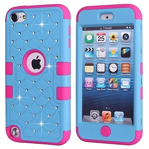 iPod Touch 5 Case génération,Touch 5 Case,Lantier [Cristal Bling] [Diamant] [Disque souple Tough] hybride Armure Cover Case pour Appleipod Touch 5 Mint Green / Hot Pink Black/Hot Pink