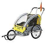 Flieks Kinderanhänger Fahrradanhänger mit Federung + Joggerfunktion + Sicherheitsgurt, 2in1 Anhänger für 1 bis 2 Kinder (Gelb)