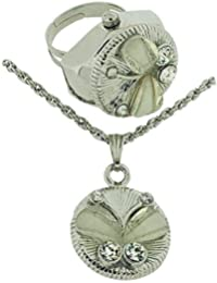 Philip Mercier Ladies Crystal Butterfly Watch Ring and Pendant Gift Set GIFT219A