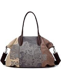 41adb0fb6ad06 Gurscour Damen Handtasche Vintage Umhängetasche Canvas Retro Schultertasche  32cmx43cmx16cm