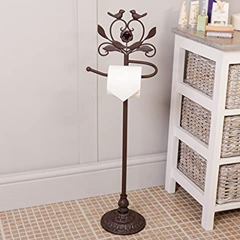 Love Birds Cast Iron Standing Toilet Roll Holder (Y766-AB) -
