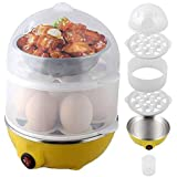 Sevia Double Layer 14 Eggs Large Capacity Multifunction Egg Boilers Steamed Egg Custard Cooking Electric Egg Cooker Boiler With Stainless Steel Bowl For Home Use (Multi Color)