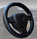 ECLEAR Car Steering Wheel Cover Genuine Leather, Universal 15 inch/38CM Breathable Anti-slip Protector for Auto/Truck/SUV/Van - Black&Blue