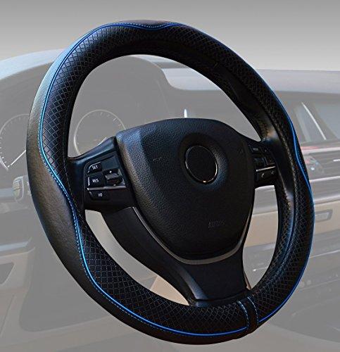 ECLEAR Genuina Cuero Cubierta del Volante de 38cm Cubre Volante Coche Universal, Antideslizante, Transpirable, Duradero (Negro y Azul)