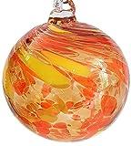 Oberstdorfer Glashütte Kugel zum hängen Bunte Glaskugel gelb orange mundgeblasenes Kristallglas Fensterdekoration Durchmesser ca. 9 cm