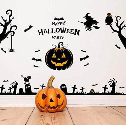 Halloween Spukhaus Kürbisse Wandaufkleber Kunst Wohnkultur Aufkleber Tapete Dekoration Fensterglas Aufkleber Adesivo De Parede 140 * 92 Cm