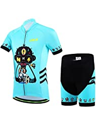 Ateid Maillot de Ciclismo y Pantalones Cortos para Niños Azul 2XL 9-11 Años