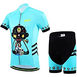 Ateid Cycling Jersey and Shorts for Kids Blue 2XL 9-11 Years