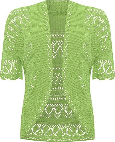 WearAll - Grande taille crochet tricoté bolero gilet top à manches courts - Hauts - Femmes - Tailles 48 à 54 Vert Lime