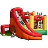 Happy Hop - Castillo hinchable (se infla en 2 minutos, 11 en 1: contiene castillo, tobogán, túnel, obstáculo, canasta de baloncesto, piscina de bolas etc.)