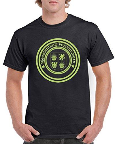 Grüner Urlaub Weihnachten Hund T-shirt (Comedy Shirts - Stadtwappen Mecklenburg Vorpommern - Herren T-Shirt - Schwarz/Grün Gr. 5XL)