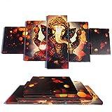 5 Stücke Elefantenstamm Gott Modular Poster Ganesha Leinwand Malerei Wandkunst Wohnkultur Für Wohnzimmer HD Drucke Bilder Holz Bar Rahmen bereit zum Aufhängen (50''W x 24''H)