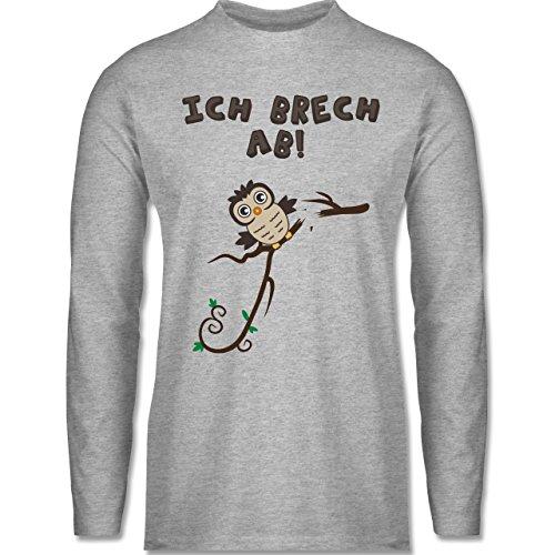 Eulen, Füchse & Co. - Eule bricht ab Eulchen - Longsleeve / langärmeliges T-Shirt für Herren Grau Meliert