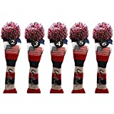 USA Majek Golf 2 3 4 5 6 Hybrid Set Headcovers Pom Pom Knit Limited Edition Vintage Classic Traditional Flag Stars Red White Blue Stripes Retro Head Cover 2-6 Set