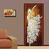 LLHBDA 3d adesivo porta scorrevole Home decor Autoadesivo Rimovibile impermeabile pvc porta murali murali per soggiorno camera da letto,95x215cm