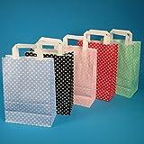 250 Papiertragetaschen Papiertüten Einkaufstüten Papier farbig bunt mit weißen Punkten Made in Germany 5 3 Verschiedene Größen zur Auswahl (Rosé/Rosa, 22+11x31cm)